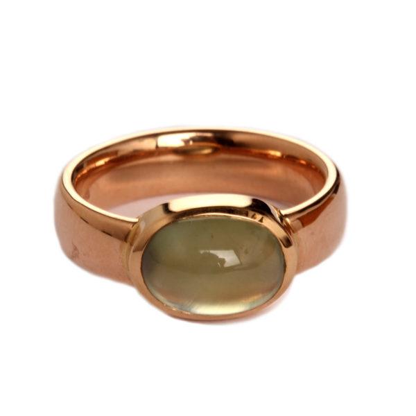 Ring in Rosegold mit Prehnit